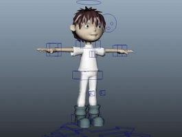 Cute Cartoon Boy Rig 3d model
