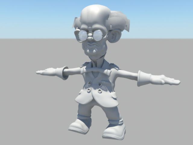 Senior Professor Cartoon 3d model