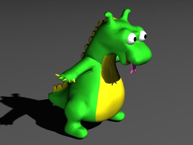 Green Dinosaur Cartoon 3d model