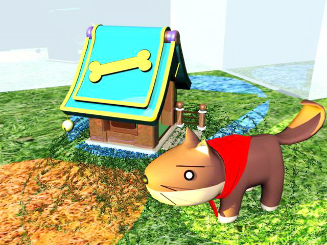 Cartoon Dog and Kennel 3d model Maya files free download