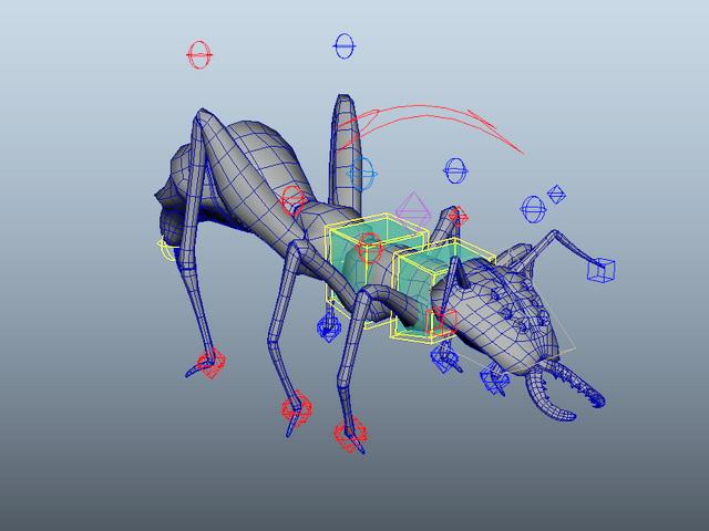 Cartoon Ant Rig 3d model