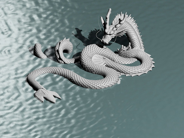 Chinese Double Dragon Sculpture 3d model