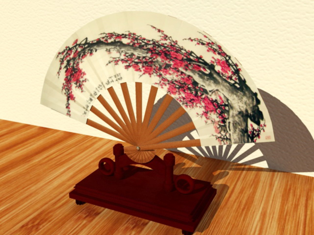 Painted Asian Fan 3d model