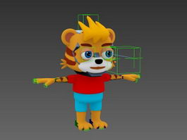 Cute Anthropomorphic Tiger Rig 3d model