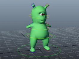 One-Eyed Green Monster Rig 3d model