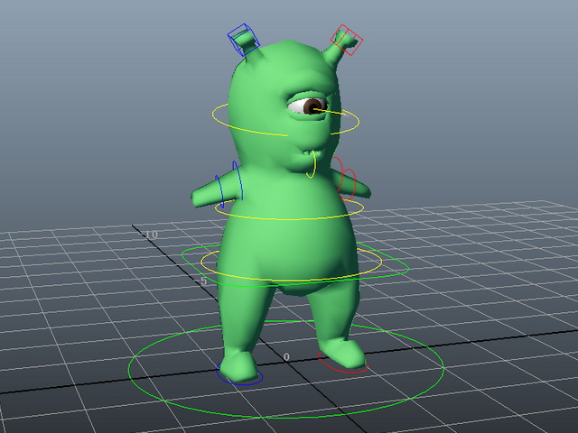 One Eyed Green Monster Rig 3d Model Maya Files Free