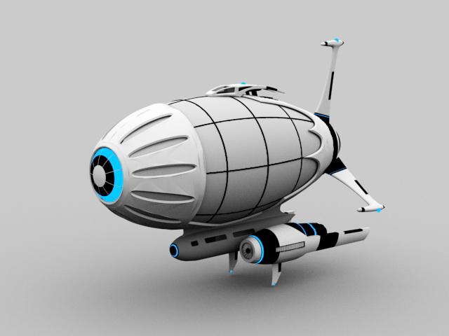 Sci-Fi Airship 3d model 3D Studio files free download - modeling