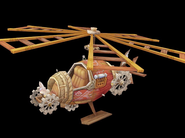 Steampunk Helicopter 3d model