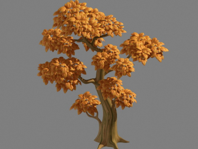 Cartoon Yellow Tree 3d model