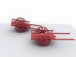 Wooden Bullock Cart 3d model