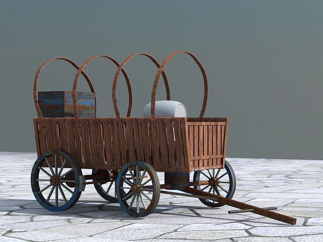 Old Wooden Cart Barrel 3d model