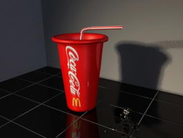 Coca Cola Cup and Straw 3d model