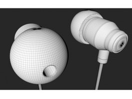 White Earphones 3d model