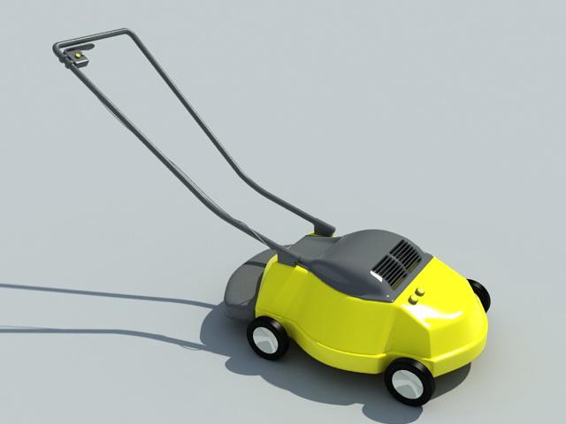 Yellow Lawn Mower 3d model