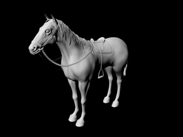 Horse Wearing Saddle 3d model