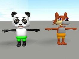 Cartoon Panda and Wolf 3d model