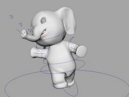 Cartoon Baby Elephant Rig 3d model