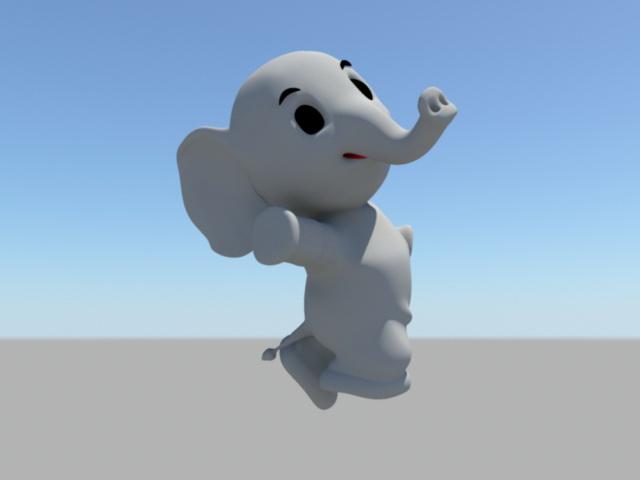 Cartoon Baby Elephant Rig 3d model