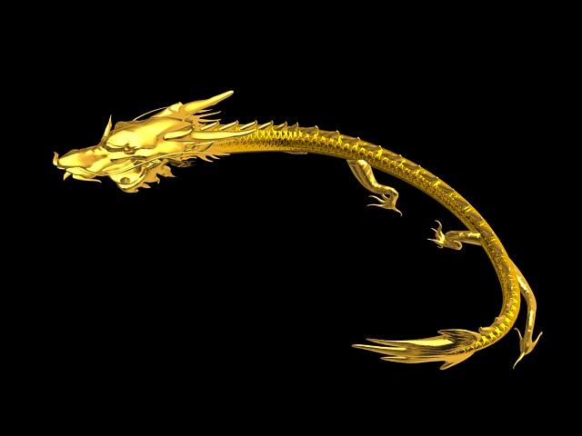 Golden Dragon Animation 3d model