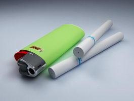 Cigarettes and Lighter 3d model