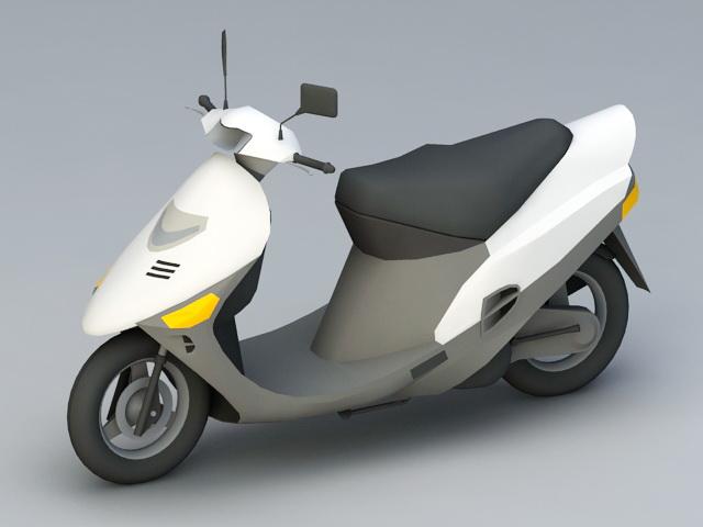 White Moped 3d model