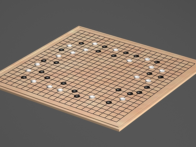 Japanese Go Game 3d model