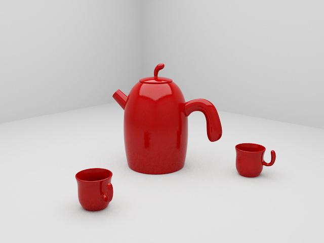 Red Tea Sets 3d model