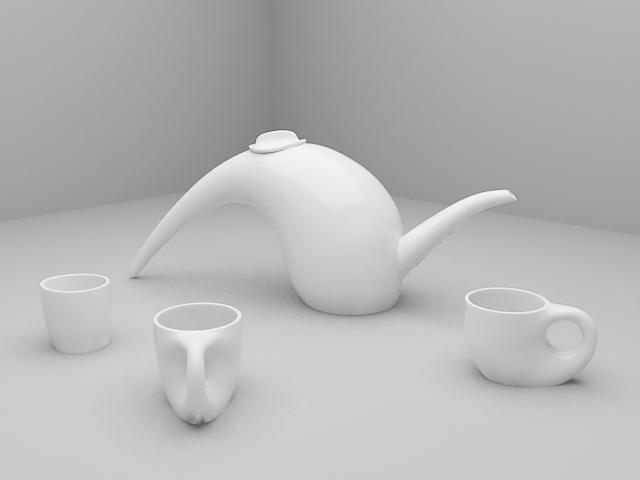 Modern Tea Sets 3d model