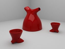 Modern Art Tea Set 3d model
