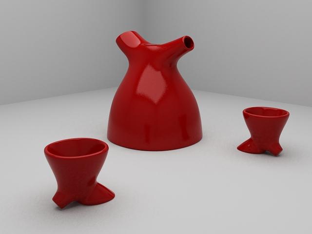 Modern Art Tea Set 3d model