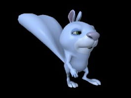 Blue Cartoon Rabbit Animation 3d model