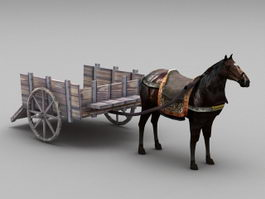 Carriage with Horse 3d model