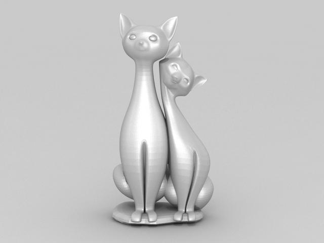 Cat Couple Lovers Figurine 3d model