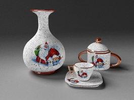 Antique Tea Set 3d model