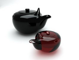 Porcelain & Glass Teapots 3d model