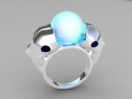 Dolphin Opal Ring 3d model