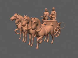 Chariot Drawn by Horses 3d model