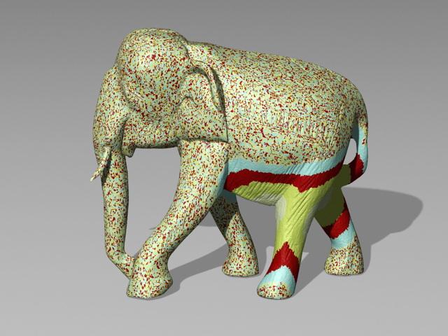 Colored Elephant Statue 3d model