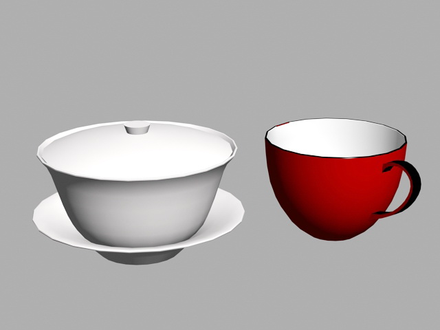 Coffee and Tea Cups 3d model