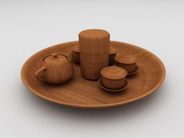 Wooden Tea Set 3d model
