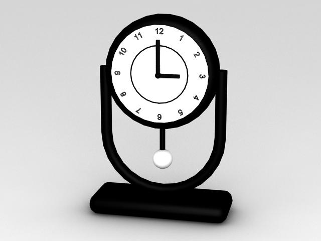 Black Desk Clock 3d model