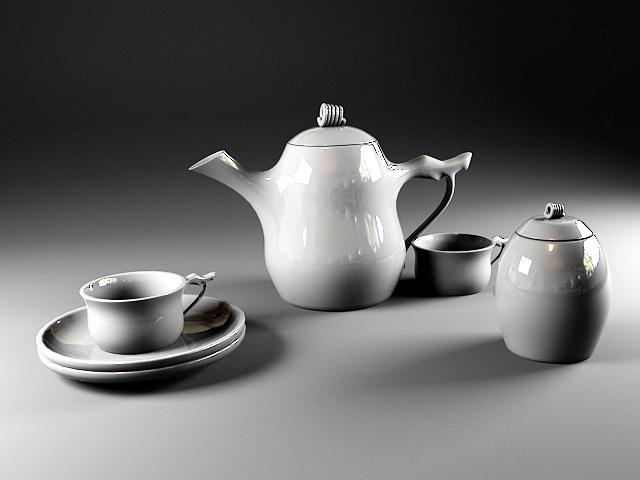 White Porcelain Tea Set 3d model