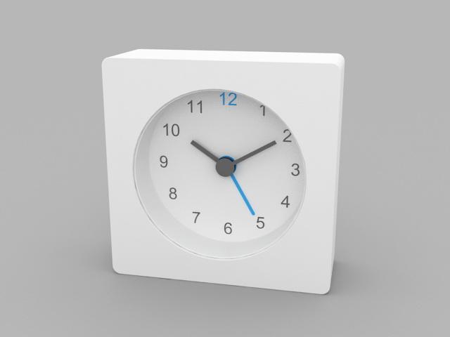 White Desk Clock 3d model