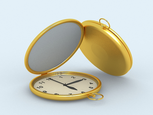 Gold Pocket Watches 3d model