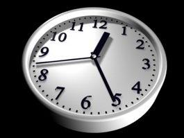 White Wall Clock 3d model