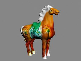 Antique Glazed Pottery Horse 3d model