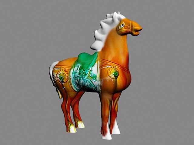 Antique Glazed Pottery Horse 3d model