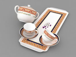 English Tea Sets 3d model