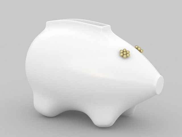 Ceramic Pig Vase 3d model