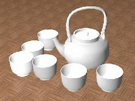 White Ceramic Tea Set 3d model